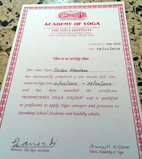 Yoga Teacher Training Certificate!